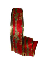 New 100Yards 2'' (50mm) Merry Christmas Red Printed Ribbons Wired Ribbon Christmas Grosgrain Ribbon Christmas Tree Decorations