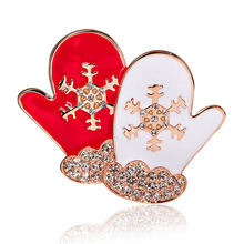 High Quality Enameled Christmas Gloves Brooch Pins Jewelry Gift for Kids Girls(China)
