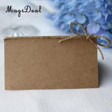 MagiDeal 100x Kraft Paper Blank Place Name Card Rustic Wedding Table Card Twine Bow(China)
