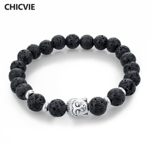 CHICVIE Natural Stone Bead Buddha Bracelets for Women Men Silver Black Lava Love Jewelry With Stones Femme