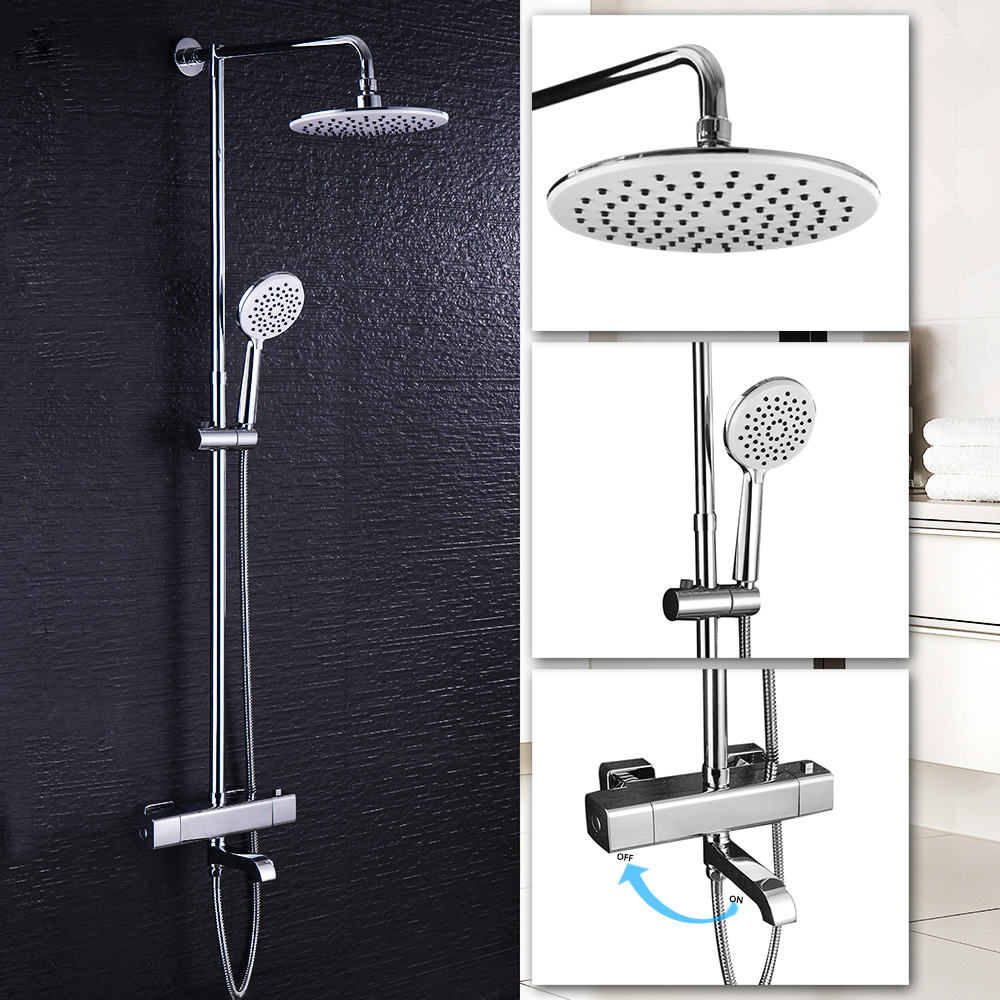 Bathroom Shower Faucets Set Thermostatic Tap Waterfall Jet Five ...