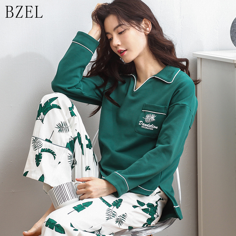 BZEL Pajamas Set Long Sleeve Sleepwear Turn-down Collar Nightwear Two Piece Sets Cartoon Casual Home Cloth Pijama Feminino S-XL
