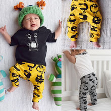 Toddlers Kids Baby Boys Girls Full Length Trousers Leggings ,onster Pattern  Bottoms collapse Pants Infants Clothing