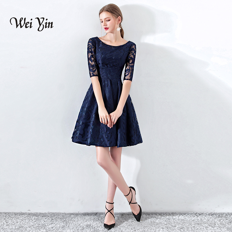 weiyin Robe De Cocktail Courte Elegant A Line Short Sleeve Lace Cocktail Dresses 2018 New Teal Formal Party Gowns WY883