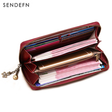 Hot Sale Split Leather Wallet Brand Wallet Female Vintage Wallet Women 2017 New Purse Long Coin Purse Women Purse For iPhone7S(China)