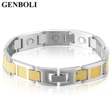 Hot! Square Pattern Titanium Men Energy Magnetic Power Health Germanium Jewelry Steel Stainless Steel Bracelet(China)