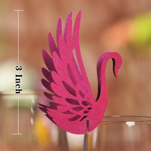 50pcs DIY Place Card Purple Laser Cut Swan Wedding Invitation Wine Glass Cup Paper Cards Name Card Wedding Party Decorations