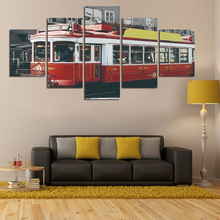 Modern HD Painting Red Train Wall Picture Painting On Canvas Modern Home Decor Wall Decor Office wall Deco Unframed FA77(China)