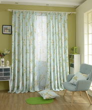 new arrival custom made screening flower design blue sheer window screening drape hook style organza day  tulle fabric curtain