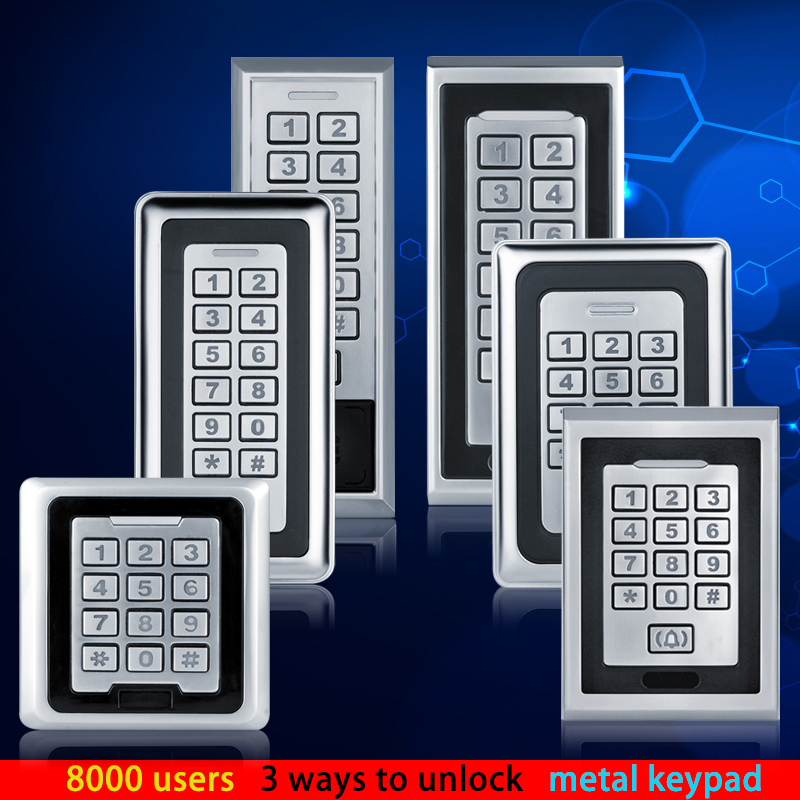 RFID Metal Access Control Keypad 125KHz Card Reader For Door Access Control System Support 8000 User Card Electric Password Lock<br>