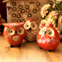 Free shipping! New Cute Owl Shape Ceramic Money Box Ceramic Artcraft Money Bank Coin Saver Kid's Creative Gift Home Decor(China)