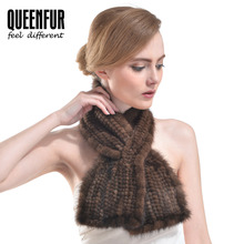 QUEENFUR Genuine Knitted Mink Fur Scarves 2016 New Women Fashion Scarf Female Winter Warm Real Fur Scarves High Quality