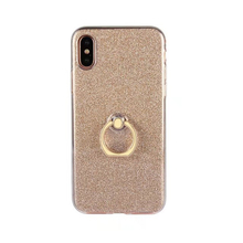 2017 Fashion hot classic convenient flare glitter gold finger metal ring stand soft tpu case skin For Samsung Galaxy cell phones(China)