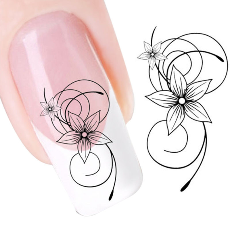 2016 new fashion Stickers &amp; Decals DIY Black Flower Water Transfer Slide Decal Sticker Nail Art Tips To Decoration free shipping<br><br>Aliexpress