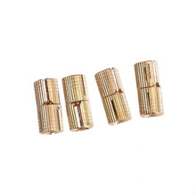 4PCS Copper Barrel Hinges Cylindrical Hidden Cabinet Concealed Invisible Brass Hinges Mount For Furniture Hardware 8mm(China)