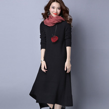 Fashion Winter  Knitted Dress Women O-neck Full Sleeve Long Maxi Sweater Dress Loose Casual Solid Irregular Vestidos M-XXL
