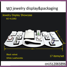 Fantastic Black & White Set Jewelry Pendant Necklace Bracelet Colars Display Counter Showcase Cabinets Displaying Organizer Case