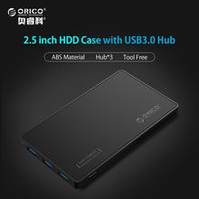 2.5 HDD Enclosure ORICO USB 3.0 Hard Drive Case with 3 Ports USB3.0 HUB Tool Free Design Driver Not Required with 5V2A Power