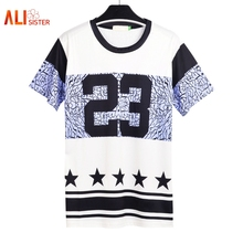 Men Hip Hop Street Wear T Shirt Number 23 Printed Men Casual Fashion T-shirts Crewneck Short Sleeves Swag Stars Tops Large Size