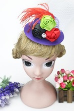 Christmas  Mini Feather Rose Top Hat Cap  Lace Fascinator Hair Clip Headwear party Costume Hair Accessories