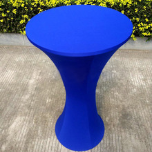 Free Shipping 10pcs Royal Blue Round Based Lycra Spandex Cocktail Table Cloths Stretch Bar Bistro Table Covers For Party Wedding(China)