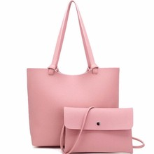 Concise Classics Composite Bag Women Leather Shopping Bags Tote + Casual Messenger Crossboby Shoulder Bags 2Pcs Set Black Pink