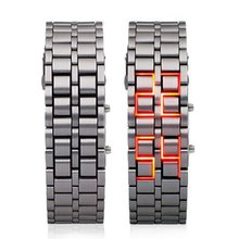 super led Unique Watch Iron Samurai - Japanese Inspired Red LED Watch sliver(China)