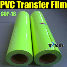 Heat transfer PVC fluorescent vinyl for tshirts with free shipping size:0.5x25m per roll CDP-18 Fluorescent Light green