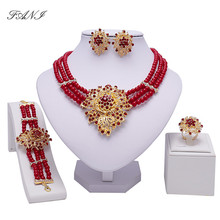 Fani Dubai Gold Color jewelry Set Women Crystal nigerian Wedding Bridal Accessories African Beads Jewelry Set Costume Design(China)