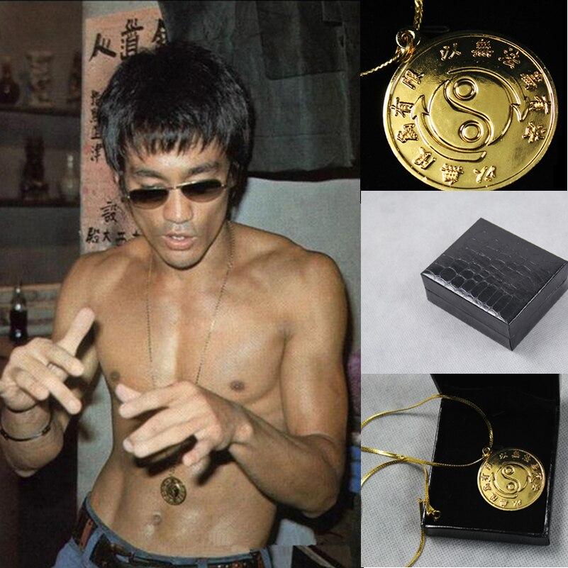 High Quality Bruce Lee Original 24k Gold Plated   Necklace Kungfu Rare Medallion Souvenir For JKD<br>