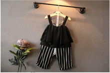 Summer style fashion girls clothing set chiffon vest & striped middle pants  gentlewomanly children girls set fashion style