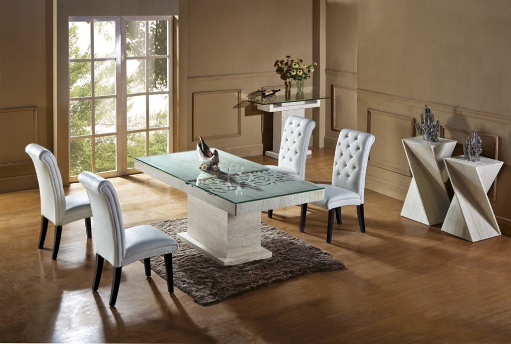 Wonderful Natural Travertine Dining Table Set Luxury High Quality Natural Store  Marble Dining Furniture Table Set NB Part 11
