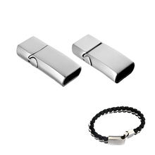 FUNIQUE 1PC 316 Stainless Steel Magnetic Lock Clasp Connector For Leather Bracelet DIY Accessories Crafts Findings(China)