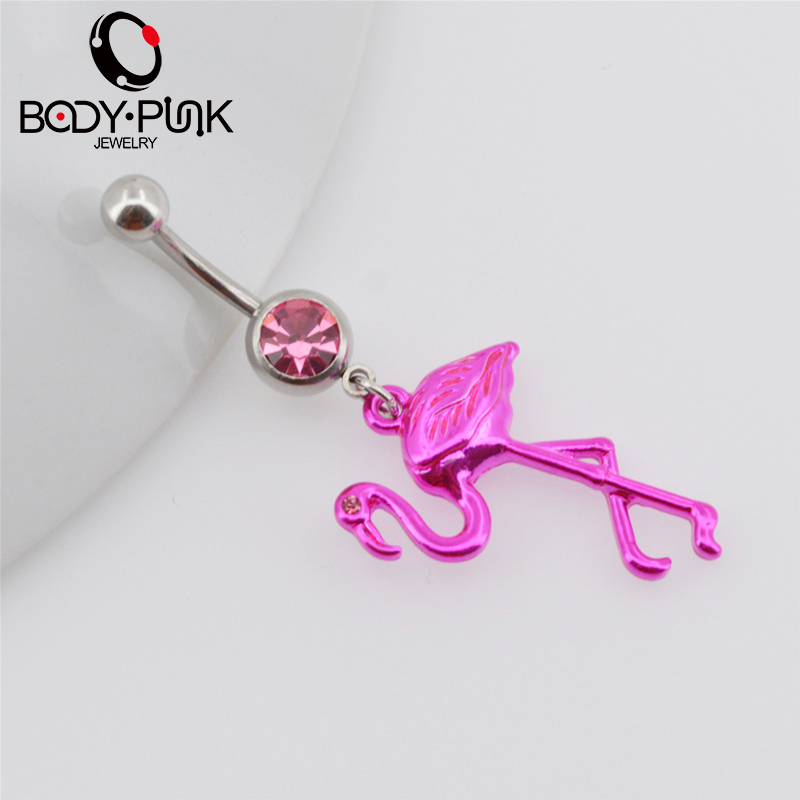 BODY PUNK Pink Flamingo Navel Ring 316L Surgical Steel Piercing Belly Button Rings Beautiful Navel Piercing Sex Body Jewelry (3)