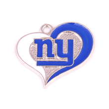 10pcs/lot rhodium plated enimal single-sided New York Giants Football team logo swirl heart charm(China)
