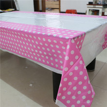 party supplies1pcs pink polka dot disposable plastic tablecover tablecloth/map for kids happy birthday party decoration