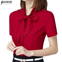 New elegant bow red shirt women OL fashion summer formal slim short sleeve chiffon blouse office ladies work wear plus size tops