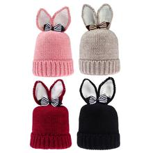 Newborn Baby Hat Rabbit Ears Baby Knitted Hat for Boy Girl Winter Warm Caps Newborn Cap Ears Candy Color Baby Tire Caps(China)
