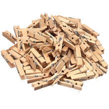 100pcs Mini Wooden Clips Natural Paper Photo Clips Bookmark Clothes Pegs Pins