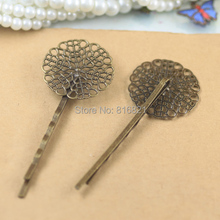 25mm Blank Bobby Pins Bases Settings Flat circle Filigree Flower pads Hair Clip Hairpins Crafts Findings Silver/ bronze tone