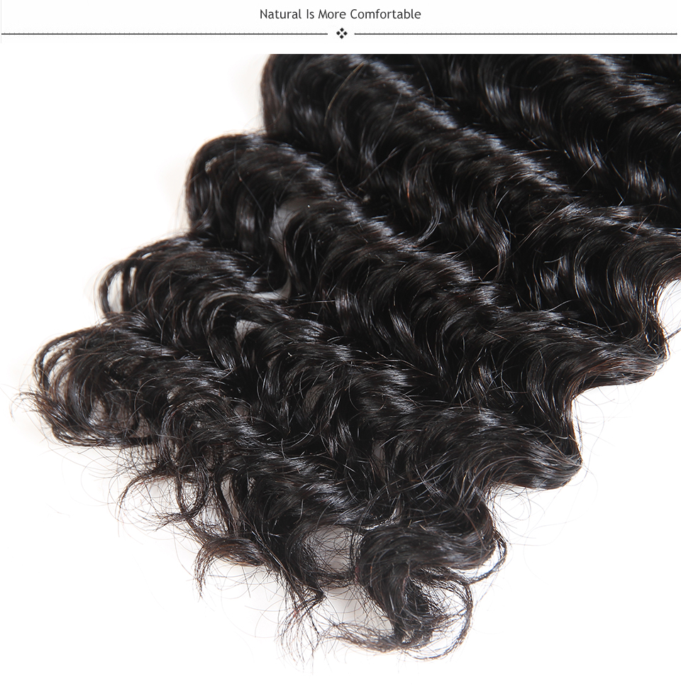 Today Only Deep Wave Brazilian Hair Weave Bundles Non-remy Human Hair Extensions Natural Black Color 8″-28″ Free Shipping