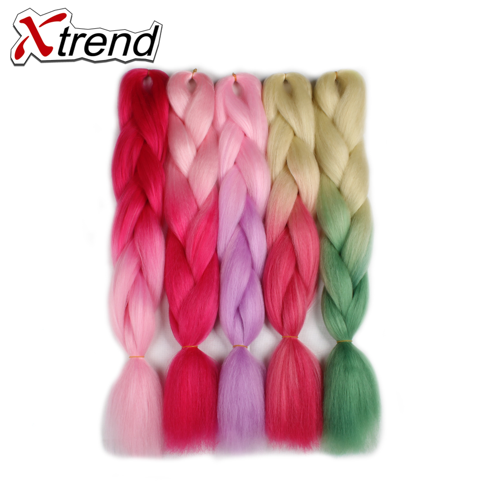 Xtrend Pink Purple Ombre Braiding Hair Extensions 24'' 100g Synthetic Jumbo Braids Crochet Hair Bulk High Temperature Fiber 3PCS(China (Mainland))