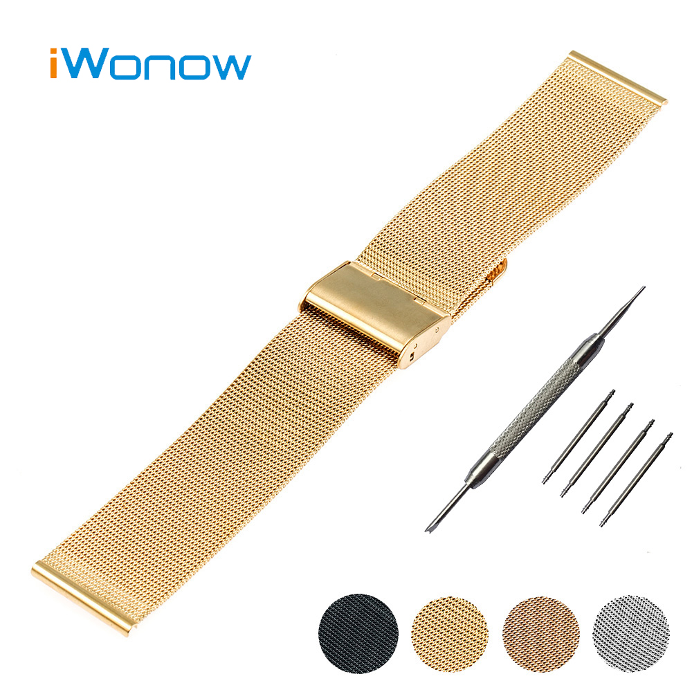 Stainless Steel Watch Band 20mm for Ticwatch 2 42mm Hook Buckle Strap Replacement Wrist Belt Bracelet + Tool + Spring Bar<br><br>Aliexpress