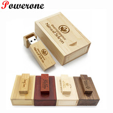 POWERONE (over 10 PCS free LOGO) Wooden USB + wood box USB Flash Drive maple wood pendrive 8GB 16GB 32GB Pen Drive Memory Stick(China)