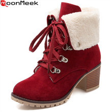 MoonMeek herfst winter nieuwe komen vrouwen laarzen zwart rood beige dames laarzen lace up vierkante hak flock enkellaarsjes big size 33-43(China)