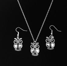 5 Set/lot Antique Silver Owl Charm Dangle Earring & Pendant Necklace Jewelry Set New Women Gift