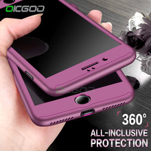 OICGOO 360 Degree Full Body Hard Cover Case For iPhone 7 8 Plus Hybrid Shockproof Case For iPhone 6 6S Plus With Tempered Glass(China)