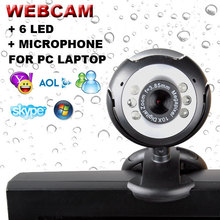 USB 2.0 50.0 M 6 LED Video Webcam Camera Web Cam With Built in Mic for Laptop Desktop PC MSN Skype