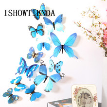 12PCS 3D PVC Butterflies DIY Wall Sticker Stickers Butterfly Home Decor Room Decorations refrigerator decal without magnets