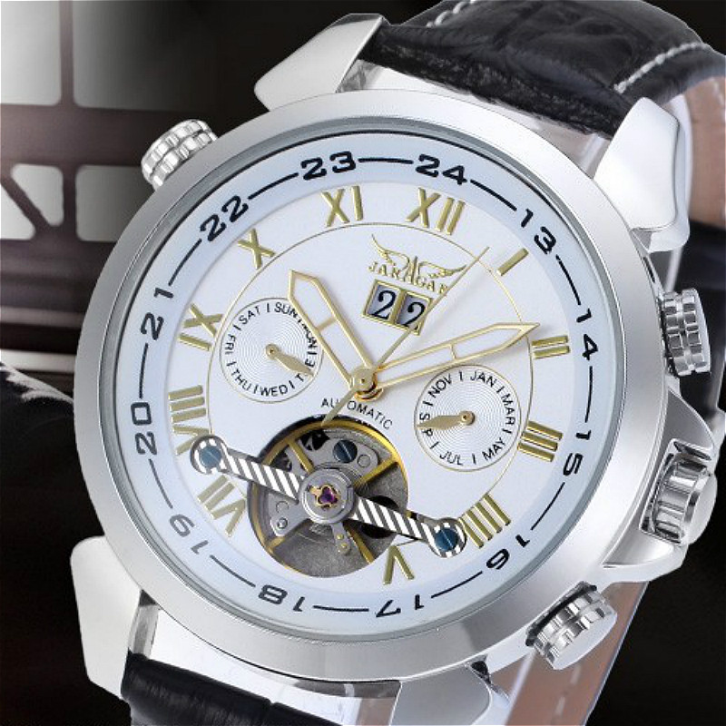 Jargar Tourbillon Automatic Silver Genuine Leather Strap Watch<br>